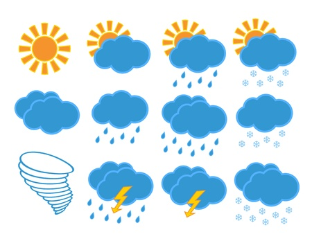 snow storm: Set of different weather icons