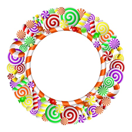 Sweet frame with colorful candies