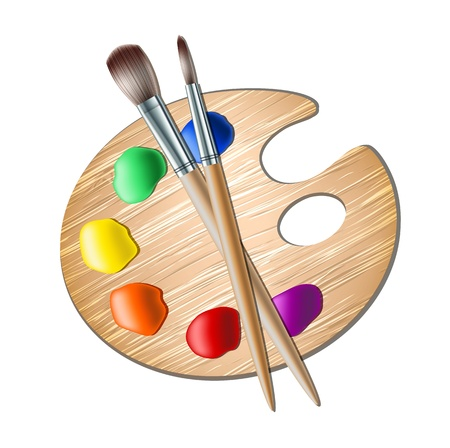 a brush: Art palette with paint brush for drawing