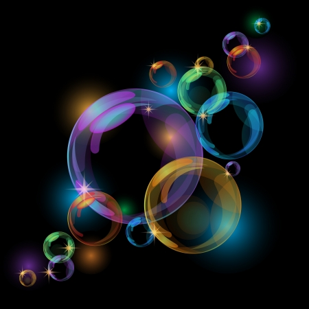 Black abstract background with transparent bubbles  Vector Stock Vector - 15661950