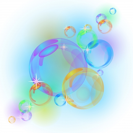 air flow: Abstract background with transparent colorful bubbles  Illustration