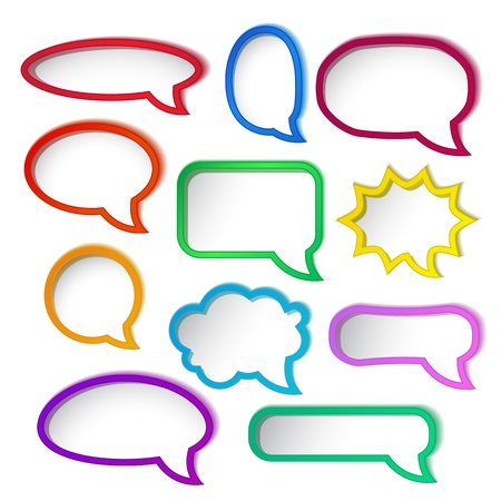speech icon: Set of colorful speech bubble frames