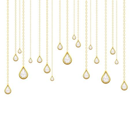 Kaart met gouden druppels met briljanten op een witte achtergrond Vector Illustratie