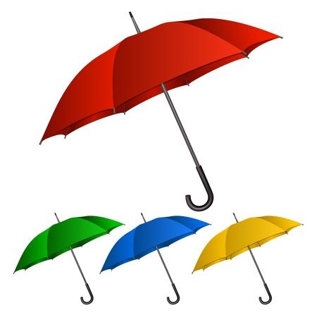 lluvia paraguas: Conjunto de paraguas en el fondo blanco