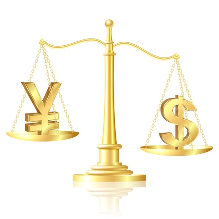 outweighs: Dollar outweighs Yen on scales  Illustration