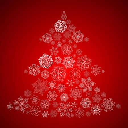 Christmas Background with Christmas Tree made of white Snowflakes Vector