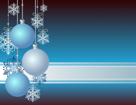 traditional silver wallpaper: Blue Christmas card with Christmas balls and snowflakes