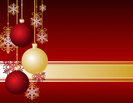 Red Christmas card with Christmas balls and snowflakes Vector