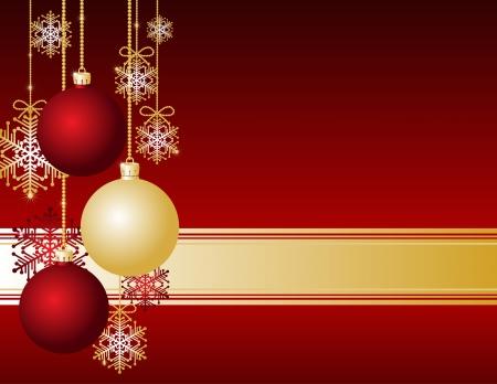 Red Tarjeta de Navidad con bolas de Navidad y copos de nieve