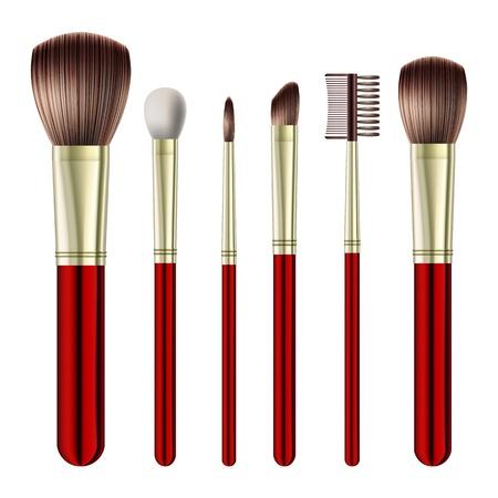 make up brush: Conjunto de cepillos del maquillaje en el fondo blanco. ilustraci�n