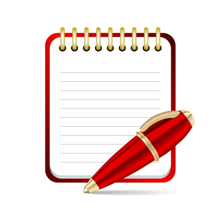 Red  Pen and notepad icon. illustration Vector