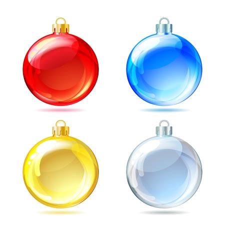 Set di lucido palle di Natale su sfondo bianco. Illustrazione vettoriale. Vettoriali