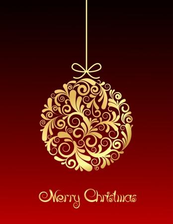 christmas ball: Gold Christmas ball on red background.  illustration Illustration