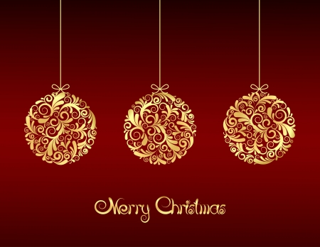 christmas party background: Gold Christmas balls on red background.  illustration Illustration