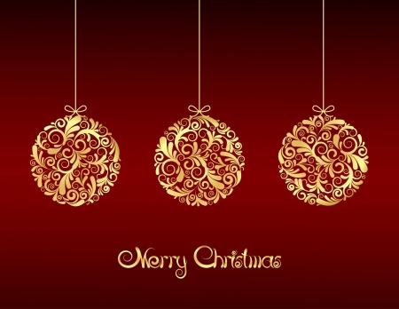 bauble: Gold Christmas balls on red background.  illustration Illustration