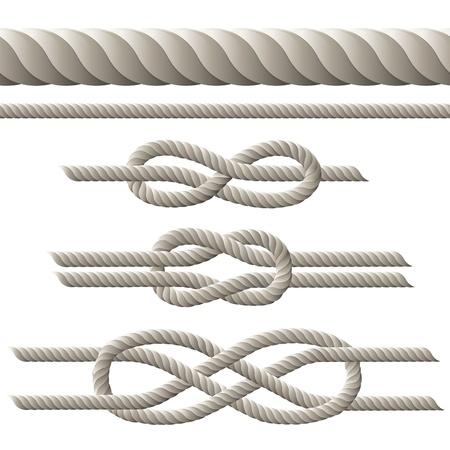 nudo: Seamless cuerda y la cuerda con nudos diferentes. ilustraci�n