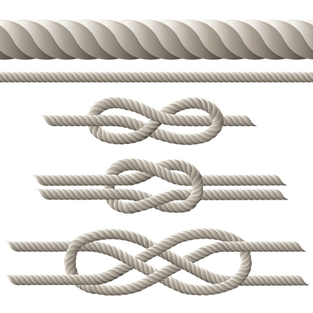 Seamless rope and rope with different knots. illustration Vector