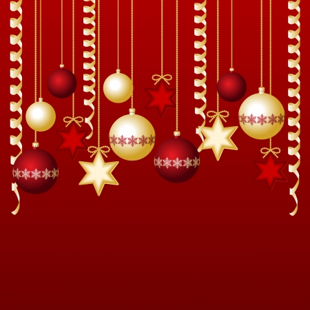 Red card with christmas balls, illustration Vector