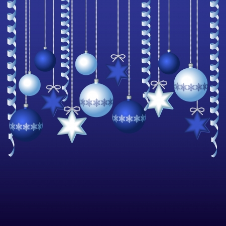 Blue card with christmas balls, illustration Vector