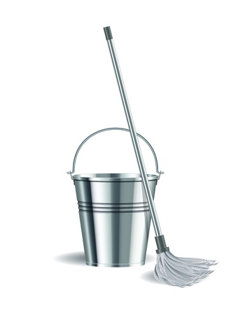 seau d eau: Seau et serpillière sur fond illustration vectorielle blanc Illustration