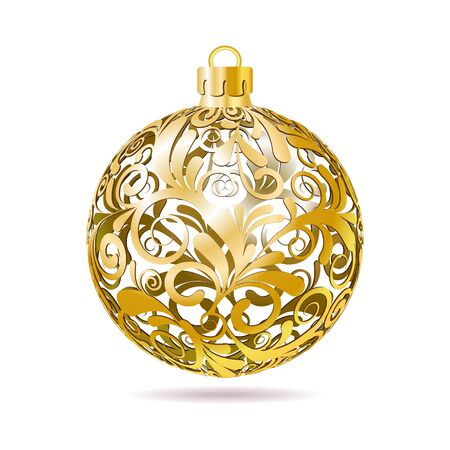 Gold Openwork Christmas ball on white background  Vector illustration Stock Vector - 16048266