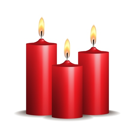 christmas religious: Three red burning candles on white background  Vector illustration