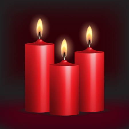 Three red burning candles on black background  Vector illustration Stock Vector - 16048271
