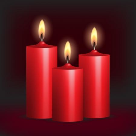 velas de navidad: Tres velas rojas ardientes en fondo negro ilustración vectorial