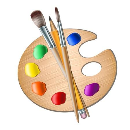 creation kit: Art palette with paint brush for drawing  Vector illustration Illustration