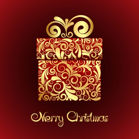 Christmas card - gift box with gold ornament  Vector Illustration Stock Vector - 16048268