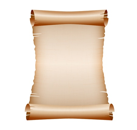 hebrew bible: old blank scroll paper on white background  vector illustration