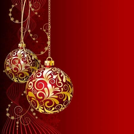 Red Cartolina di Natale con le palle di Natale e fiocchi di neve