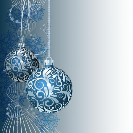motivos navide�os: Tarjeta de Navidad azul con bolas de Navidad y copos de nieve