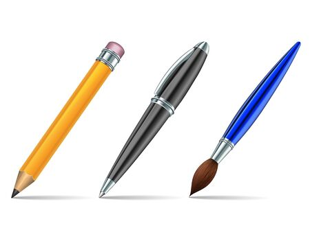 art supplies: Pen tools isolated on the white background  Vector illustration
