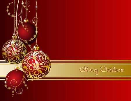 christmas sphere: Red Christmas card with Christmas balls and snowflakes Illustration