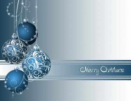 eleganz: Blaue Weihnachtskarte mit Weihnachtskugeln und Schneeflocken Illustration