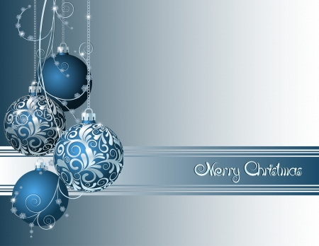 christmas sphere: Blue Christmas card with Christmas balls and snowflakes