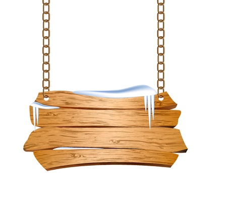 snow chain: Wooden sign suspended on chains  Vector illustration