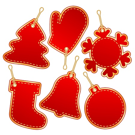 christmas red label design elements  vector illustration Stock Vector - 16132962