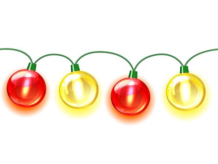 MultiColored lamp festive garland  Seamless on white background Stock Vector - 16132967