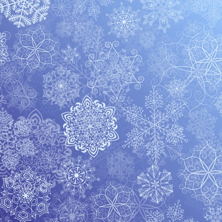 Abstract blue Christmas Background with white Snowflake Stock Vector - 16250546