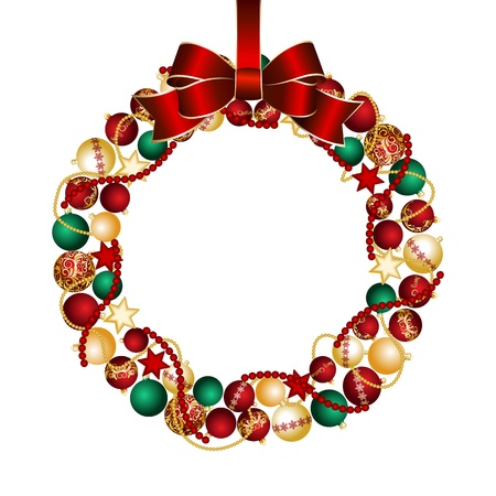 wreath: Christmas wreath decoration from Christmas Balls  Vector illustration