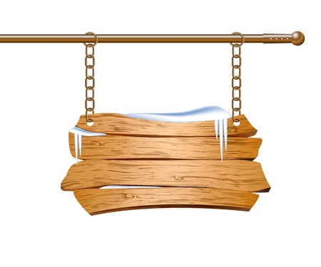 wooden plaque: Wooden sign suspended on chains  Vector illustration