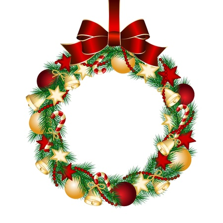 christmas ball isolated: Christmas wreath decoration from fir branches  Vector illustration