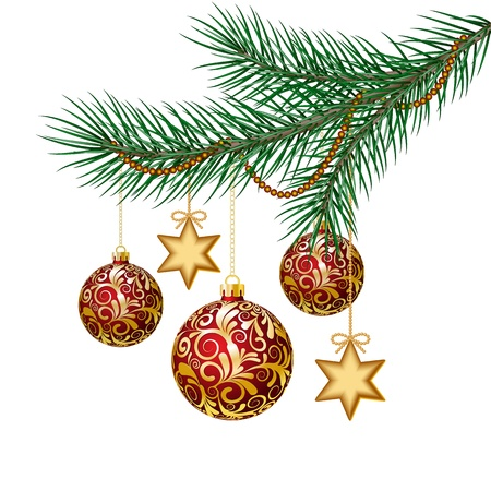 christmas backdrop: Red christmas balls on green spruce branch  Vector illustration
