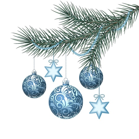 Blue christmas balls on green spruce branch  Vector illustration