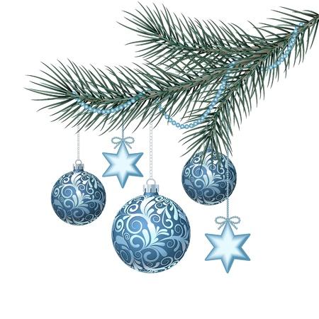 Blue christmas balls sur vert sapin branche Vector illustration