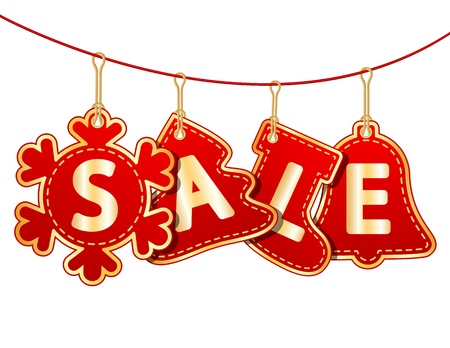 holiday shopping: Christmas Sale Tags on christmas signs  Vector illustration