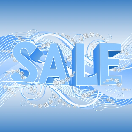 Winter sale banner with blue text SALE. illustration Stock Vector - 16451739