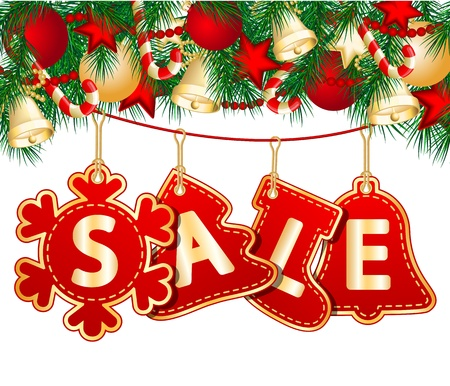 december holidays: Christmas Sale Tags on christmas signs. illustration